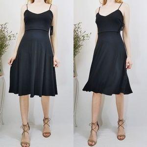 Lulus Twirl for You Black Midi Skater Dress